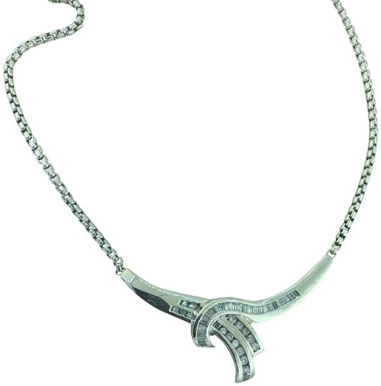 Preload https://img-static.tradesy.com/item/23199431/white-10-ct-baguette-and-round-diamond-love-wrap-14k-gold-necklace-0-1-540-540.jpg