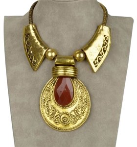 Tribal Tribal Retro Copper Teardrop Cameo Charm Bib Collar Statement Pendant Necklace