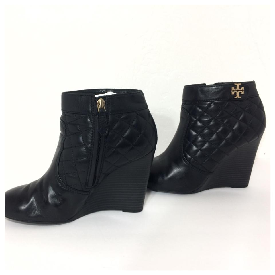 a71261f96 Tory Burch Black Leila Quilted Leather Wedge Boots Booties Size US 9 ...