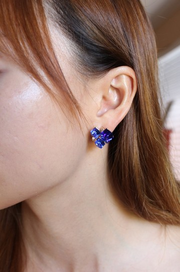 Ocean Fashion Blue square ring earrings set Image 1