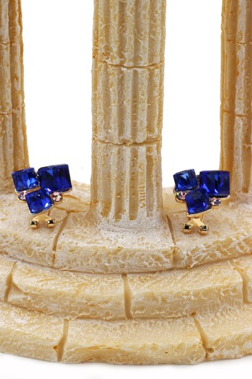 Ocean Fashion Blue square ring earrings set Image 11