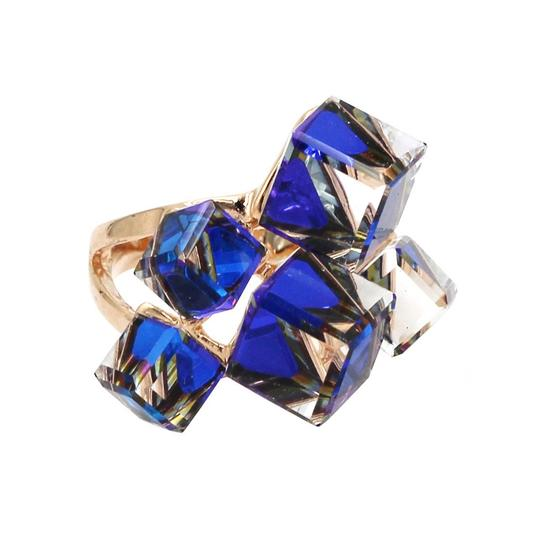 Ocean Fashion Blue square ring earrings set Image 2