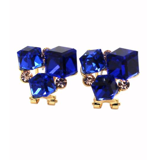 Ocean Fashion Blue square ring earrings set Image 3