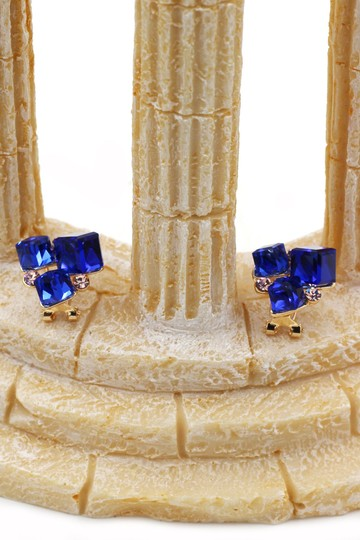 Ocean Fashion Blue square ring earrings set Image 6
