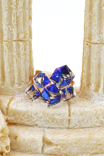 Ocean Fashion Blue square ring earrings set Image 7