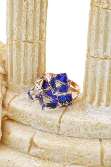 Ocean Fashion Blue square ring earrings set Image 8