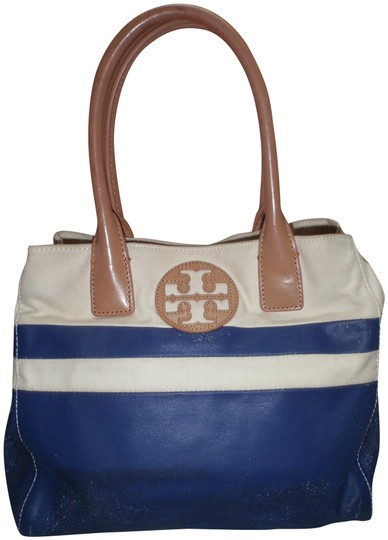 Preload https://img-static.tradesy.com/item/23199693/tory-burch-canvasleather-bluecream-canvasleather-tote-0-1-540-540.jpg