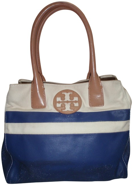 Tory Burch Canvas/Leather Blue/Cream Canvas/Leather Tote Tory Burch Canvas/Leather Blue/Cream Canvas/Leather Tote Image 1