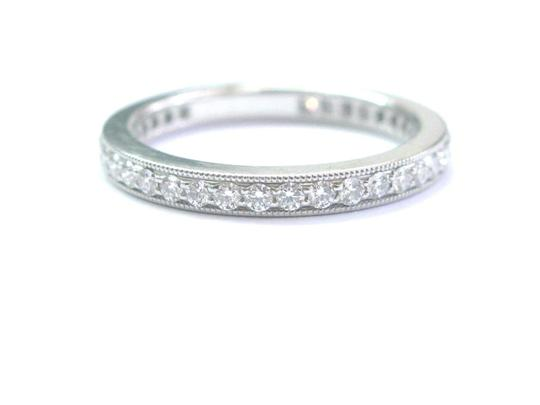 Tiffany & Co. Tiffany & Co Platinum Legacy Diamond Milgrain Band Ring Size 5 Image 1
