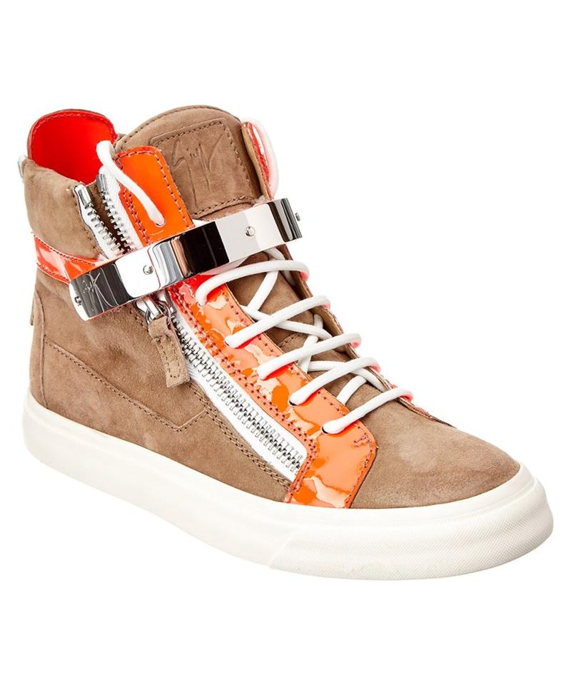 7f0b0015dd065 Giuseppe Zanotti Brown and Orange Suede High Top Sneakers. Size: EU 36  (Approx. US 6) Regular (M ...