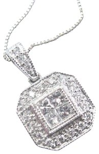 custom Fine Princess & Round Cut Diamond Square White Gold Pendant Necklace .