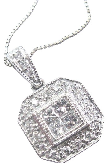 Preload https://img-static.tradesy.com/item/23199715/g-fine-princess-and-round-cut-diamond-square-white-gold-pendant-necklace-0-3-540-540.jpg