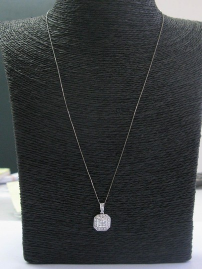 custom Fine Princess & Round Cut Diamond Square White Gold Pendant Necklace . Image 3