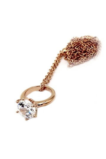 Ocean Fashion 925 rose gold Simple crystal ring necklace Image 1