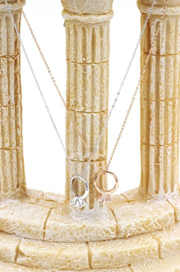 Ocean Fashion 925 rose gold Simple crystal ring necklace Image 3
