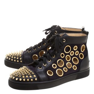 Christian Louboutin Two Tone Leather Bubble Spikes High Top Formal