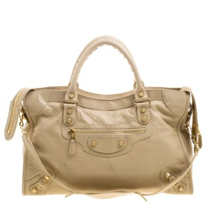 Balenciaga Oryx Leather Classic City Gold Tote in Beige