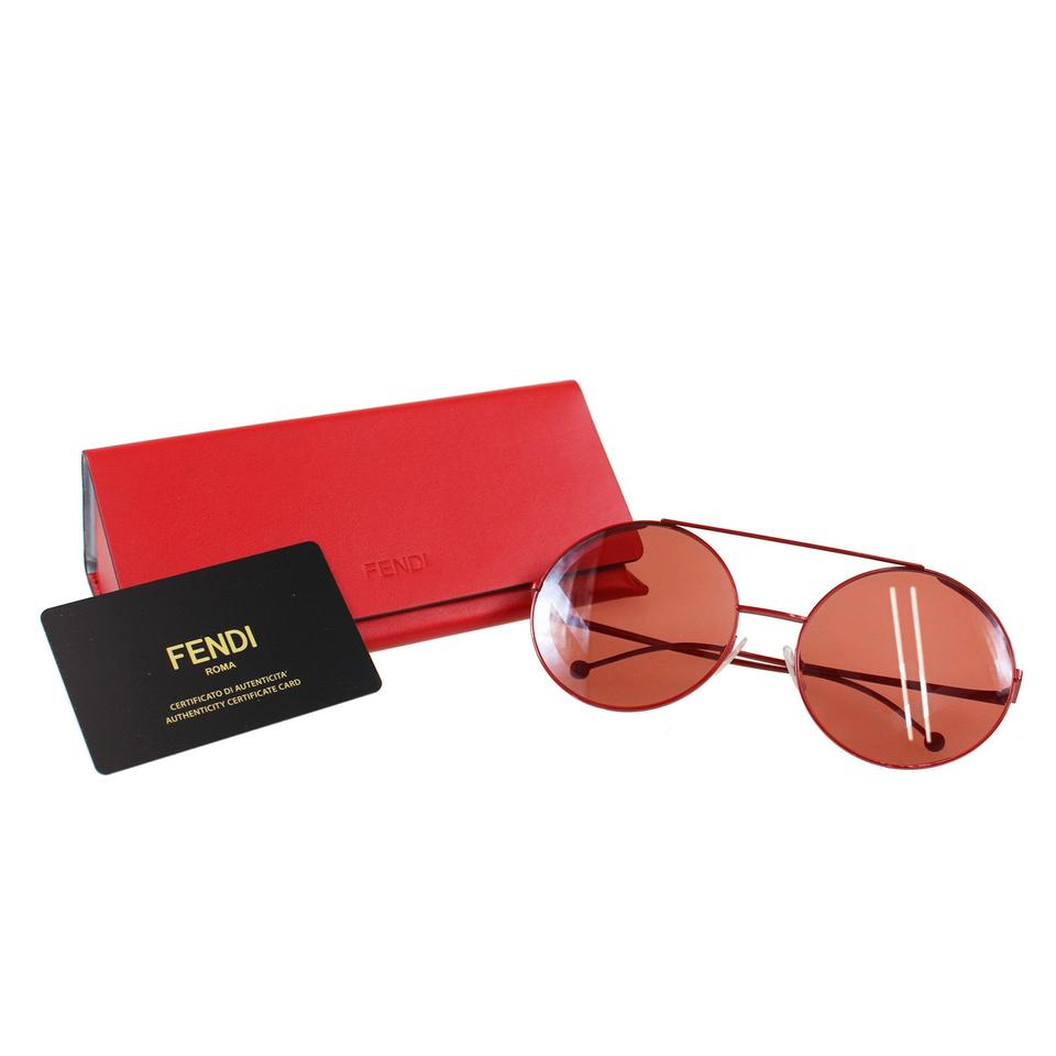 77d1c1fe93a4b Fendi FENDI Logos Round Sunglasses Red Metal Eye Wear Vintage Italy Image 0  ...