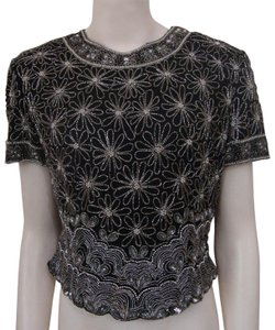 Adrianna Papell Boutique Vintage Beaded Evening Top Black