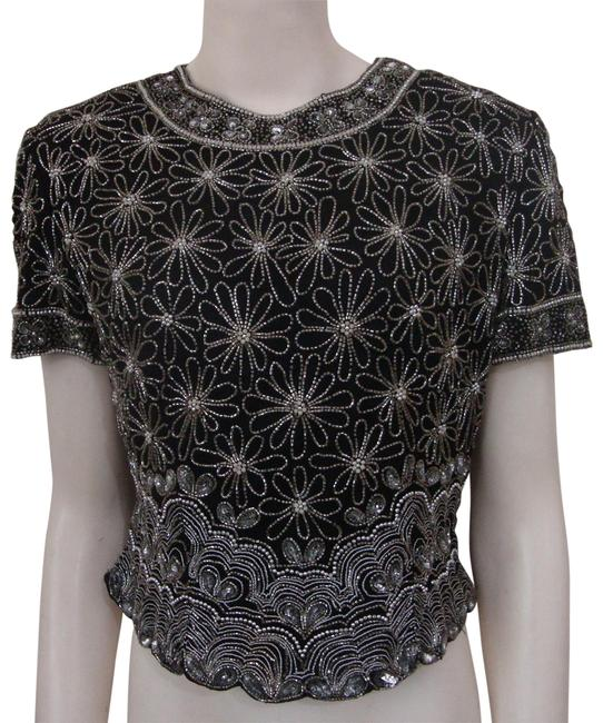 Preload https://img-static.tradesy.com/item/23200134/black-vintage-beaded-silk-blouse-night-out-top-size-petite-8-m-0-1-650-650.jpg