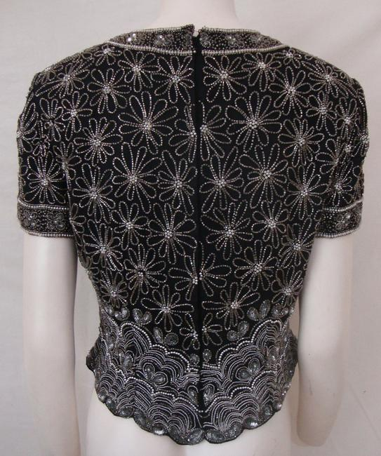 Adrianna Papell Boutique Vintage Beaded Evening Top Black Image 1