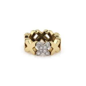 Tiffany & Co. Diamond 18k Yellow Gold X Flex Link Band Ring