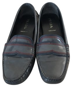 Prada Leather Loafer Loafers Grey Flats