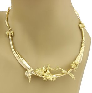 Modern Vintage Carved Lady & Peacock Section 14k Gold Link Collar Necklace