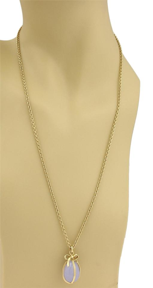 1672eaf2c Tiffany & Co. Schlumberger Large Chalcedony Egg Pendant Necklace in 18k  Yellow Gold Image 0 ...