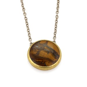 GURHAN Tiger's Eye Galapagos 24k Gold over Sterling Silver Pendant