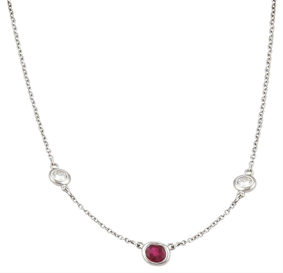 339056208d41f Tiffany & Co. 19521_ Peretti Color By The Yard Ruby Diamond Platinum  Necklace