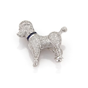 other Stunning 1.62ct Diamond Poodle Dog 18k White Gold Brooch Pin