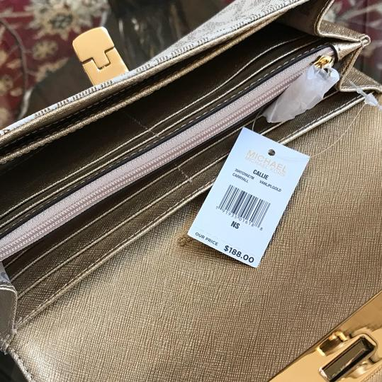 Michael Kors Signature Monogram Tina Spring Satchel in VANILLA/PALE GOLD Image 3