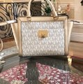 Michael Kors Signature Monogram Tina Spring Satchel in VANILLA/PALE GOLD Image 4