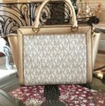 Michael Kors Signature Monogram Tina Spring Satchel in VANILLA/PALE GOLD Image 5