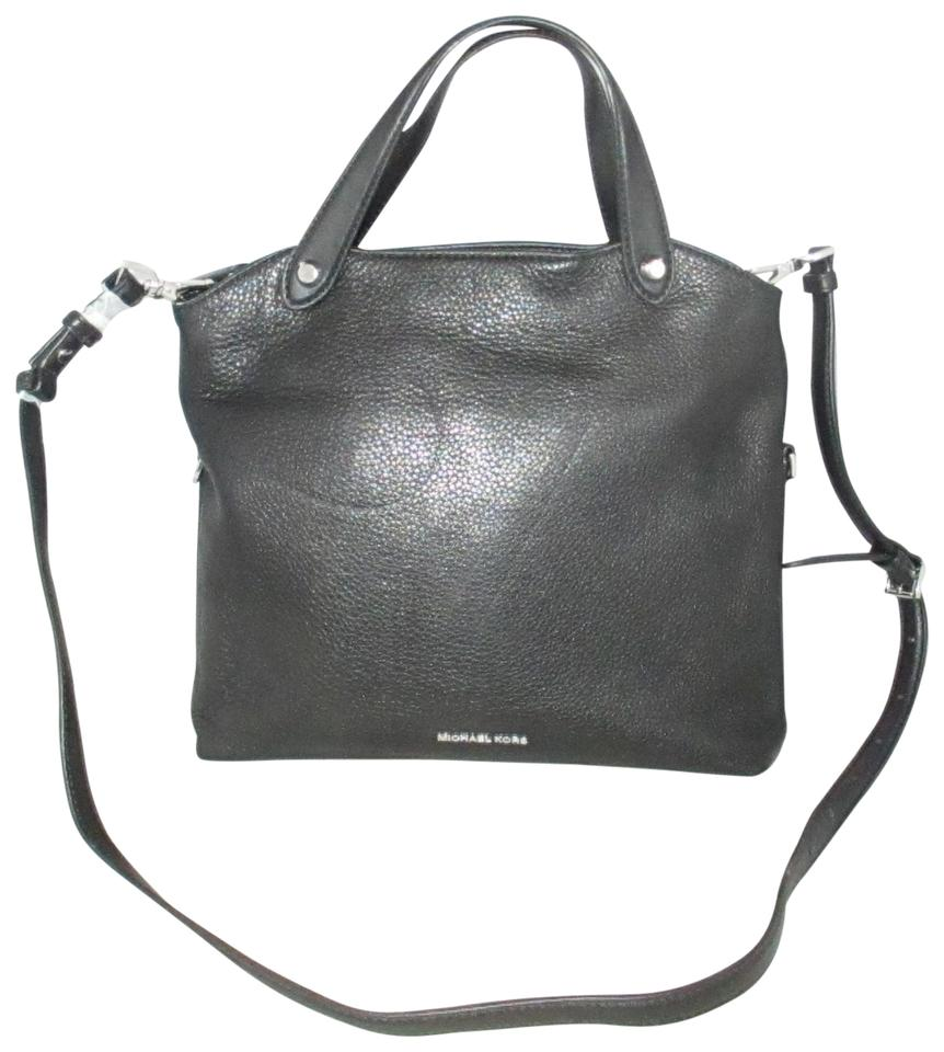 8a3eb54d769b Michael Kors Messenger Hyland Convertible Satchel Cross-body Purse Black  Pebbled Leather Shoulder Bag