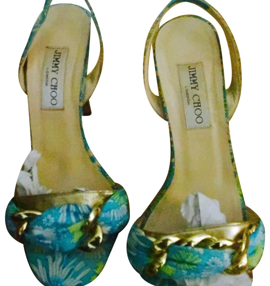f01dcd66bfa2b5 Jimmy Choo Multi   Gold Summer Sandals Size EU 37.5 (Approx. US 7.5 ...