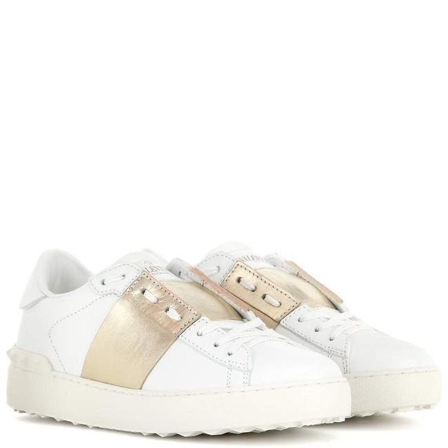 Item - White with Gold Stripe Stud Leather Open Sneakers Size EU 36 (Approx. US 6) Regular (M, B)