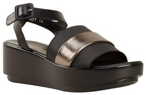 Robert Clergerie Wedge Buckle Leather Hipster Black with Silver Platforms
