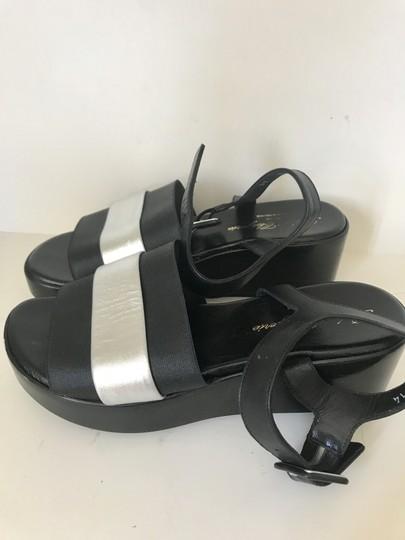 Robert Clergerie Wedge Buckle Leather Hipster Black with Silver Platforms Image 1