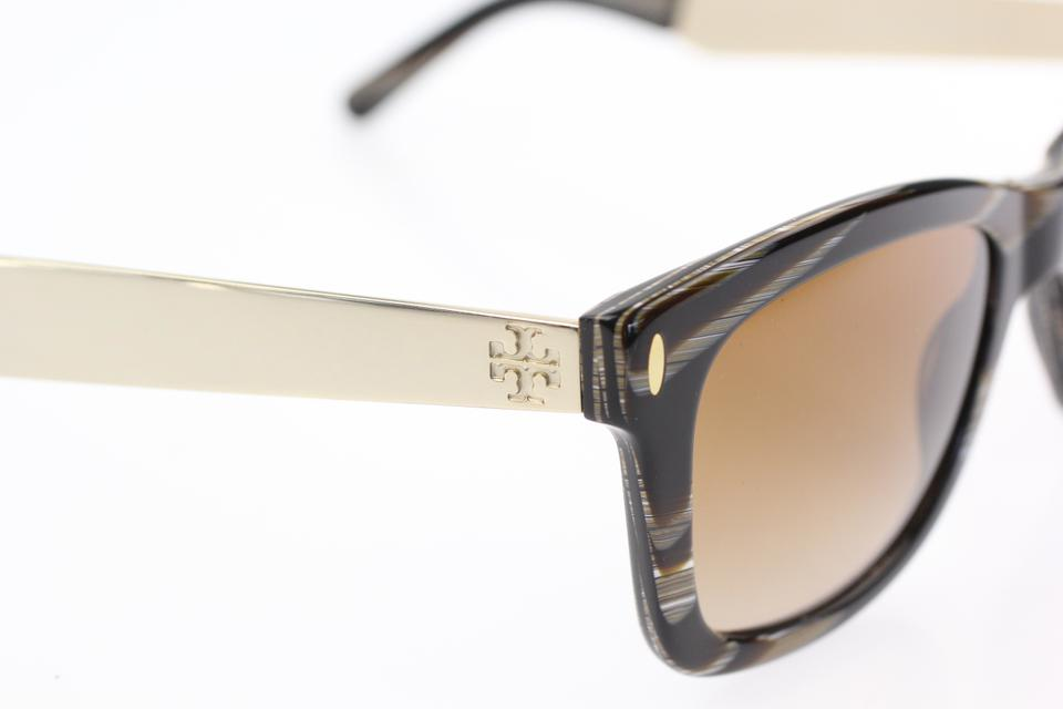 18915ce8897 Tory Burch Brown   Gold Square Metal Logo Sunglasses - Tradesy