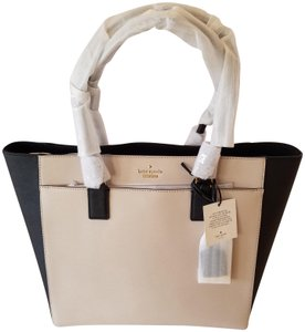 Kate Spade Leather Handbag New Tote in Two-Toned Black and Tusk
