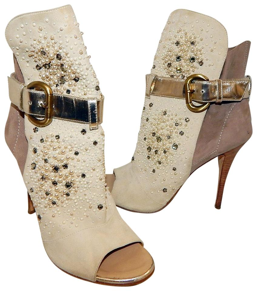 Giuseppe Zanotti Beige Suede Pearl Boots/Booties Jewel Open Toe Ankle Boots/Booties Pearl bb7a0b