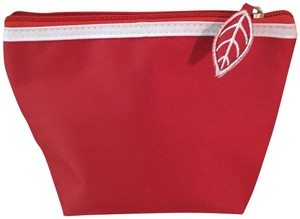 Clarins Clarins Red Cosmetic Bag with White Patent Trim