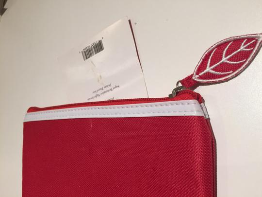 Clarins Clarins Red Cosmetic Bag with White Patent Trim Image 1