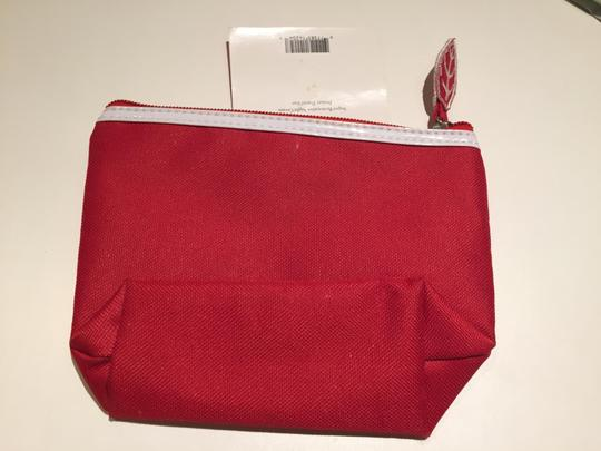 Clarins Clarins Red Cosmetic Bag with White Patent Trim Image 2