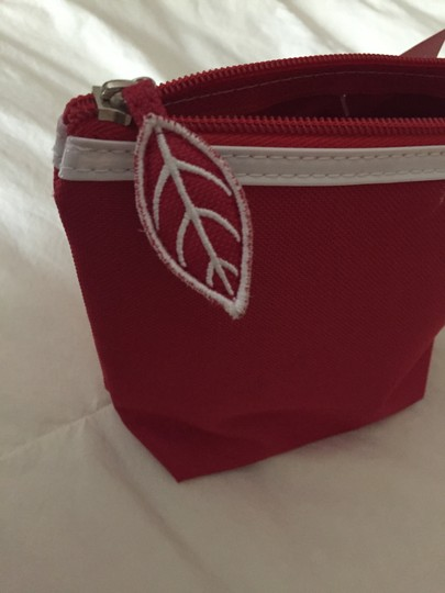 Clarins Clarins Red Cosmetic Bag with White Patent Trim Image 5