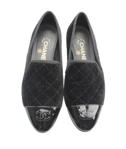 Chanel Velvet Loafers Quilted black Flats