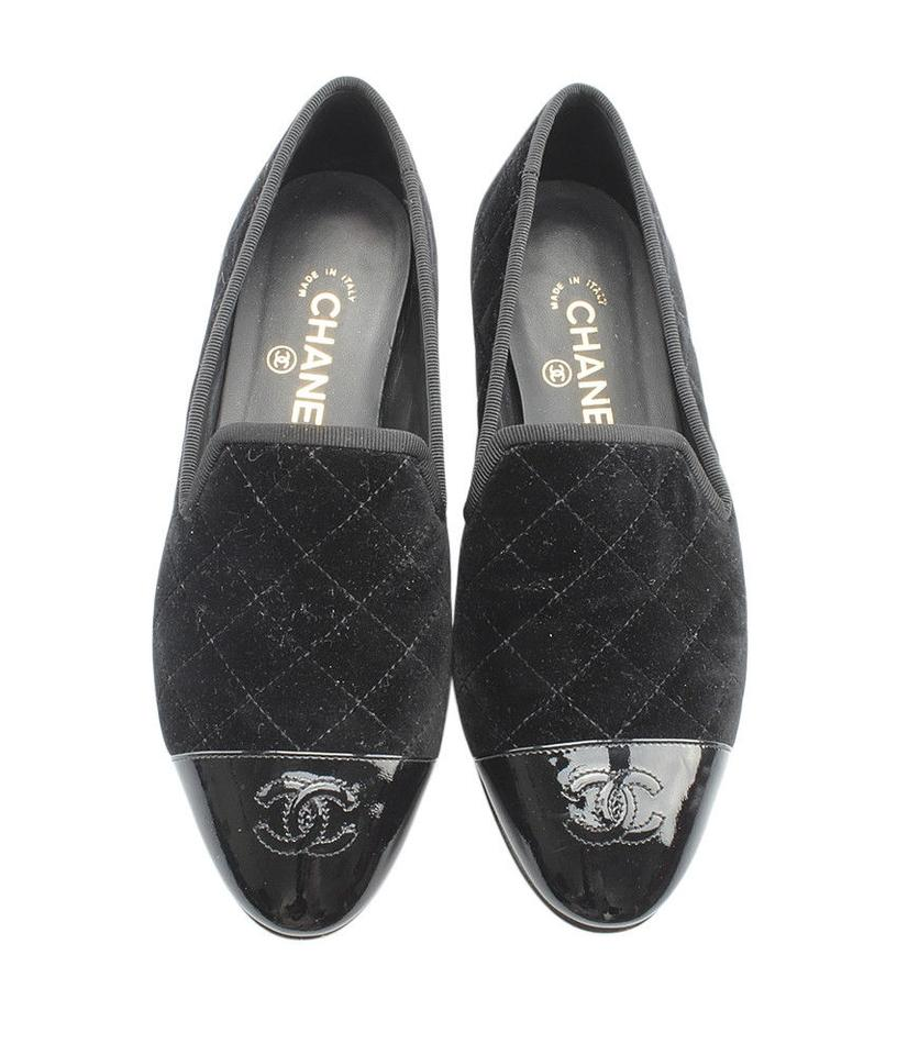 4fb47e802d1 Chanel Black Velvet Quilted Patent Leather Cc Logo Loafers Smoking ...