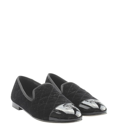 Chanel Velvet Loafers Quilted black Flats Image 1